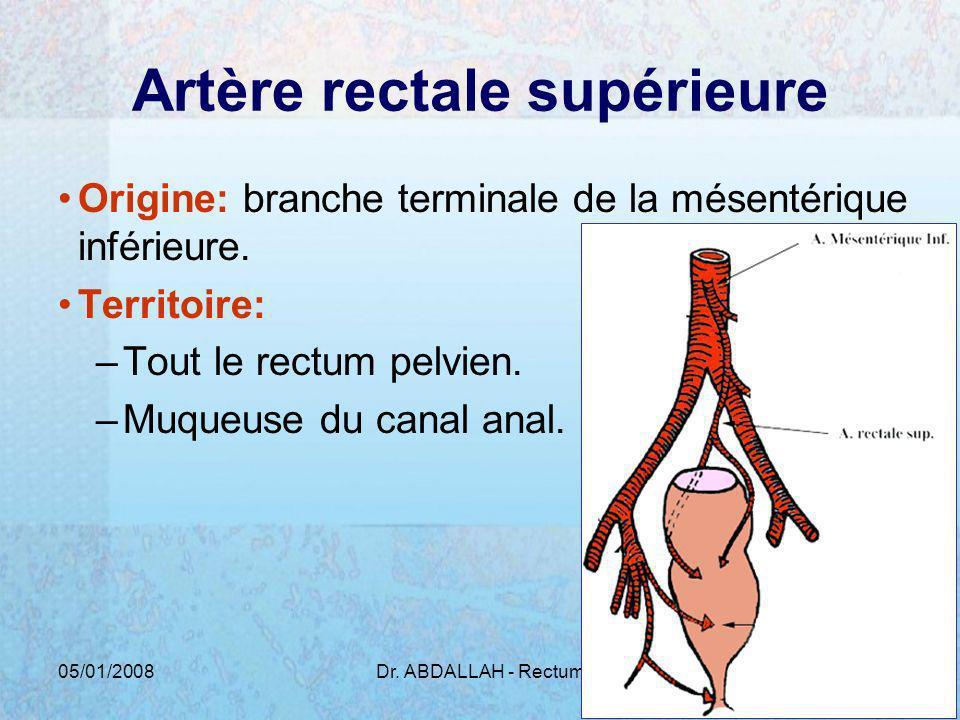 05/01/2008Dr. ABDALLAH - Rectum5 Artère rectale supérieure Origine: branche terminale de la mésentérique inférieure. Territoire: –Tout le rectum pelvi