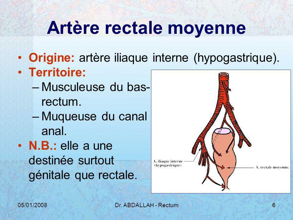 05/01/2008Dr. ABDALLAH - Rectum6 Artère rectale moyenne Origine: artère iliaque interne (hypogastrique). Territoire: –Musculeuse du bas- rectum. –Muqu