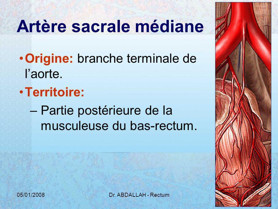 05/01/2008Dr. ABDALLAH - Rectum8 Artère sacrale médiane Origine: branche terminale de laorte. Territoire: –Partie postérieure de la musculeuse du bas-