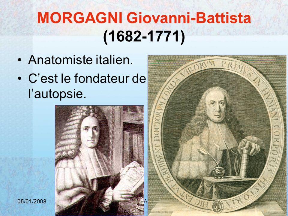 05/01/2008Dr. ABDALLAH - Rectum25 MORGAGNI Giovanni-Battista (1682-1771) Anatomiste italien. Cest le fondateur de lautopsie.