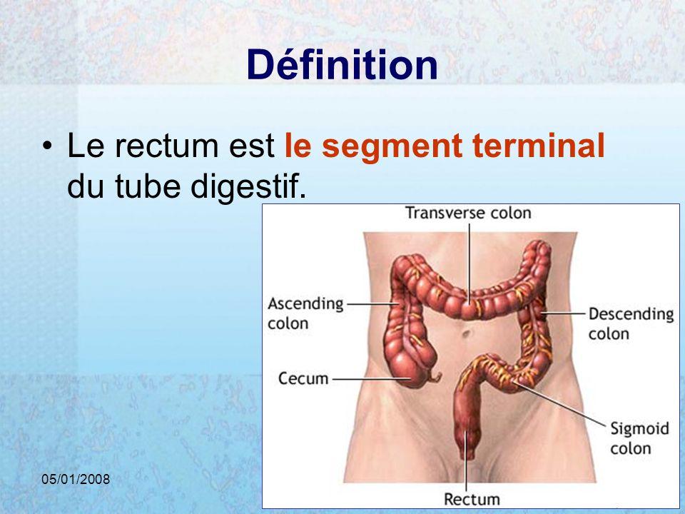 05/01/2008Dr. ABDALLAH - Rectum5 Définition Le rectum est le segment terminal du tube digestif.
