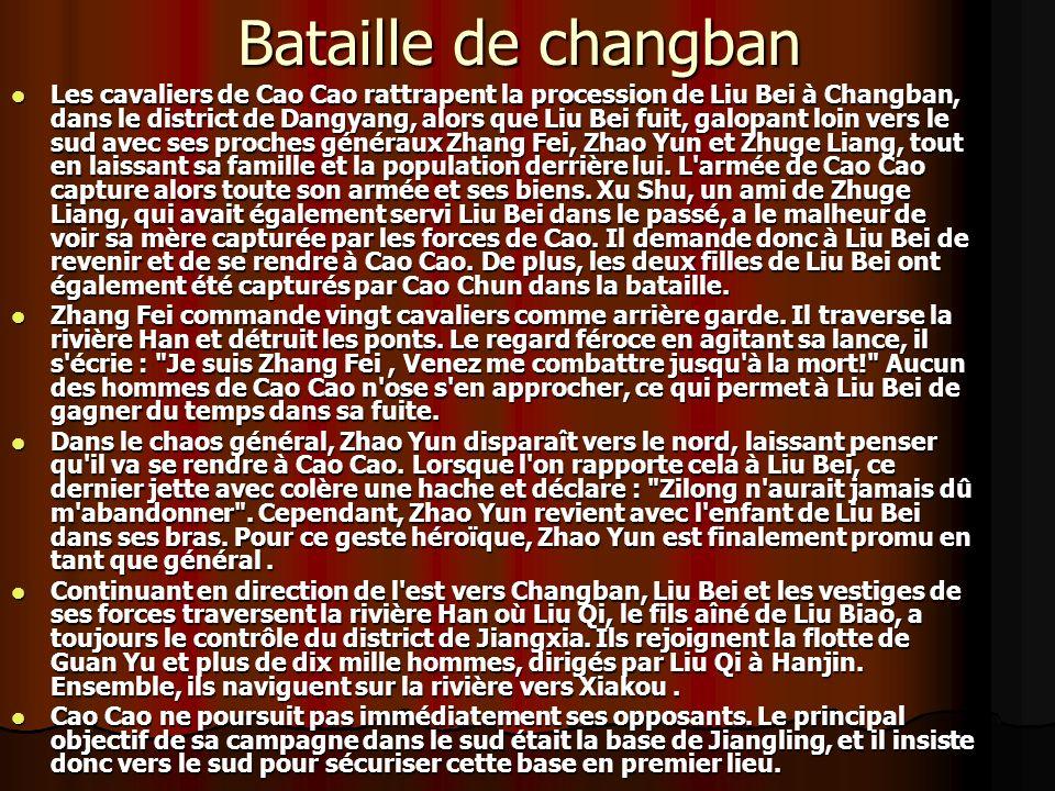 Bataille de changban Les cavaliers de Cao Cao rattrapent la procession de Liu Bei à Changban, dans le district de Dangyang, alors que Liu Bei fuit, galopant loin vers le sud avec ses proches généraux Zhang Fei, Zhao Yun et Zhuge Liang, tout en laissant sa famille et la population derrière lui.