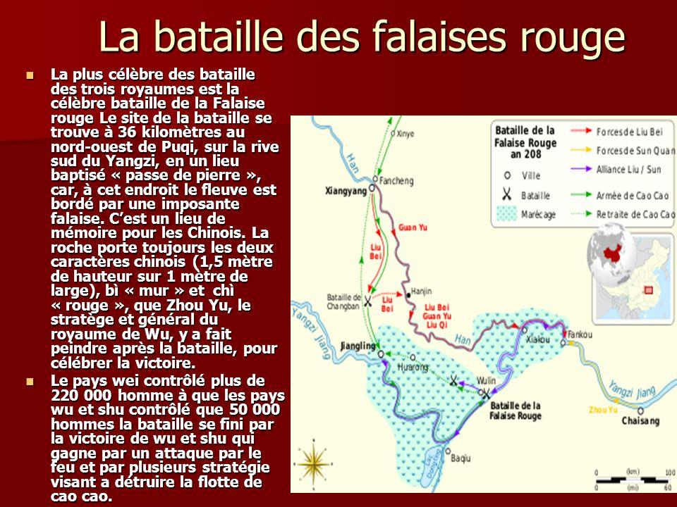 La bataille des falaises rouge La plus célèbre des bataille des trois royaumes est la célèbre bataille de la Falaise rouge Le site de la bataille se t