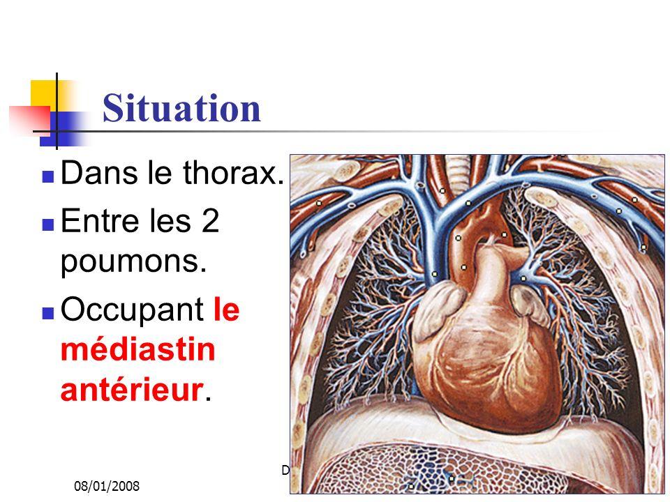 08/01/2008 Dr. ABDALLAH - Appareil circulatoire10 Situation Dans le thorax. Entre les 2 poumons. Occupant le médiastin antérieur.