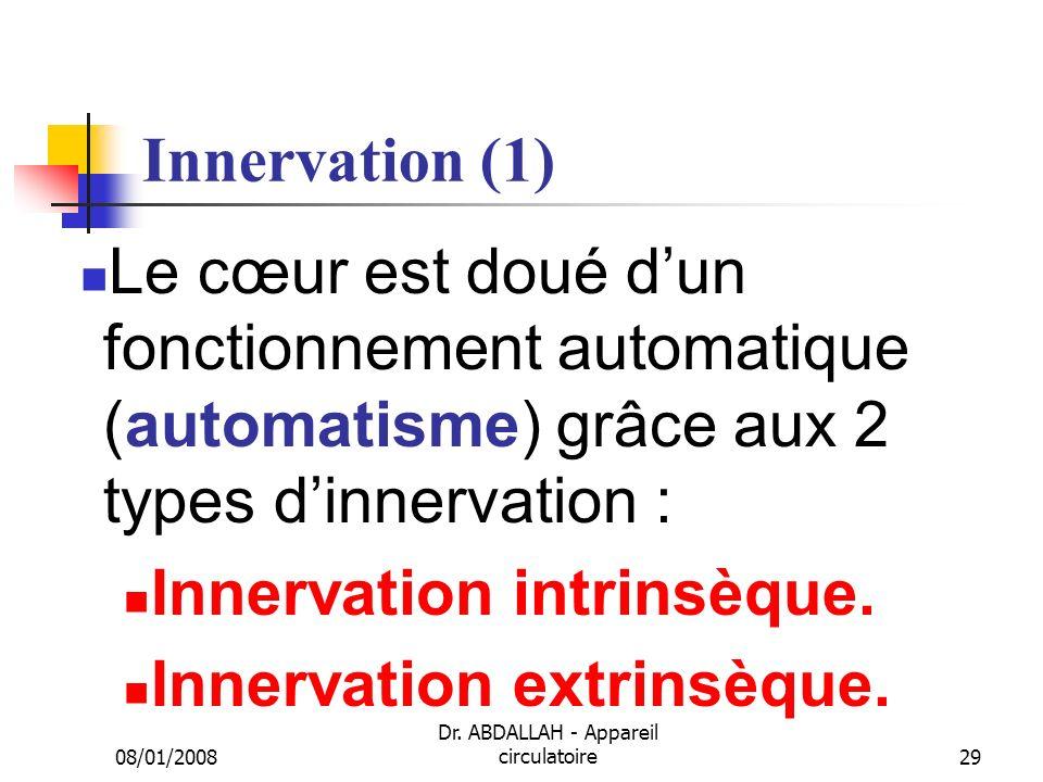 08/01/2008 Dr. ABDALLAH - Appareil circulatoire29 Innervation (1) Le cœur est doué dun fonctionnement automatique (automatisme) grâce aux 2 types dinn