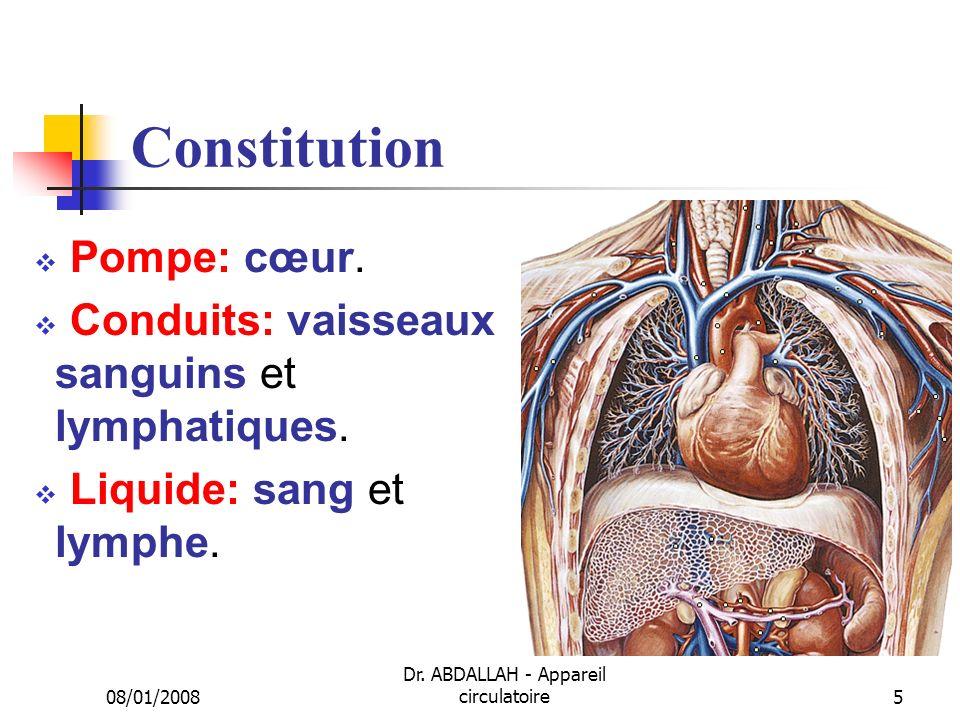 08/01/2008 Dr. ABDALLAH - Appareil circulatoire5 Constitution Pompe: cœur. Conduits: vaisseaux sanguins et lymphatiques. Liquide: sang et lymphe.