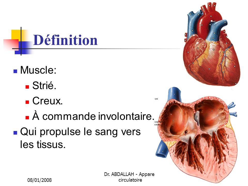 08/01/2008 Dr. ABDALLAH - Appareil circulatoire9 Définition Muscle: Strié. Creux. À commande involontaire. Qui propulse le sang vers les tissus.