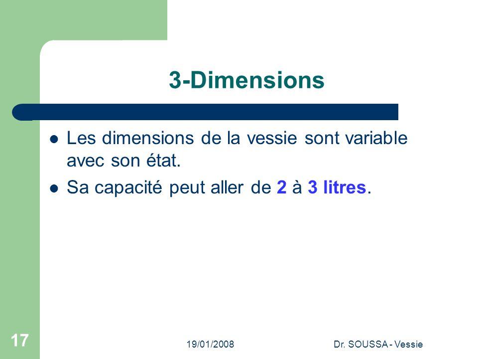 19/01/2008Dr. SOUSSA - Vessie 17 3-Dimensions Les dimensions de la vessie sont variable avec son état. Sa capacité peut aller de 2 à 3 litres.