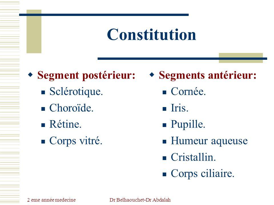 2 eme année medecine Dr Belhaouchet-Dr Abdalah Constitution Segment postérieur: Sclérotique. Choroïde. Rétine. Corps vitré. Segments antérieur: Cornée