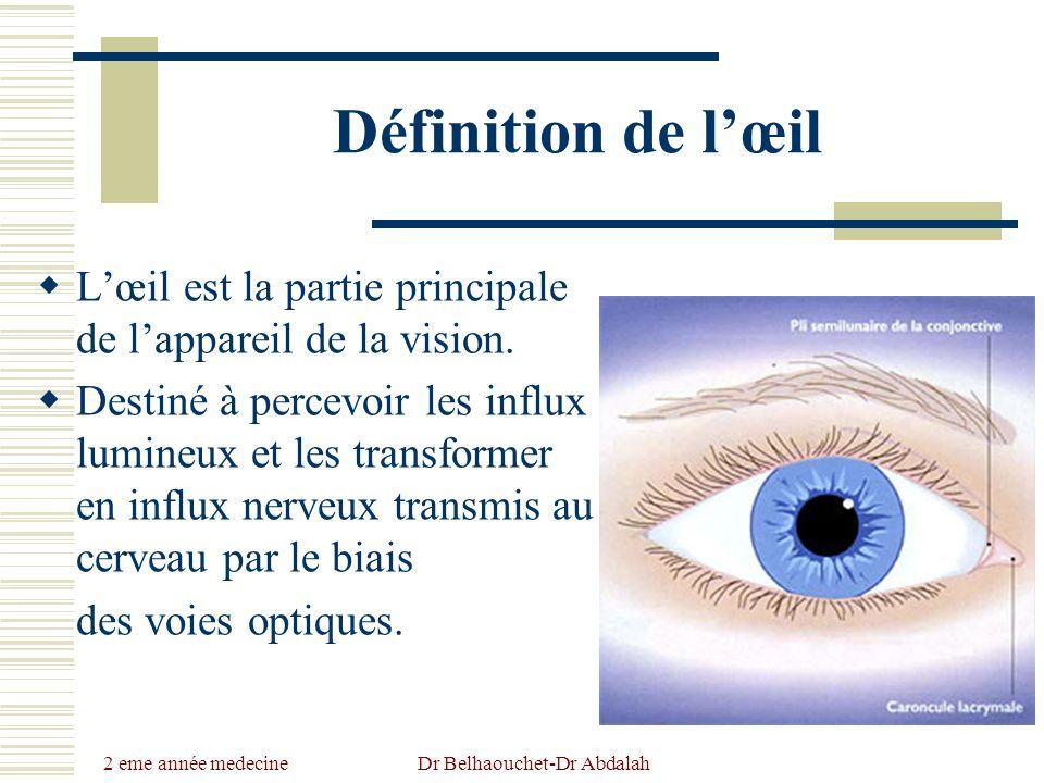 2 eme année medecine Dr Belhaouchet-Dr Abdalah Définition de lœil Lœil est la partie principale de lappareil de la vision. Destiné à percevoir les inf