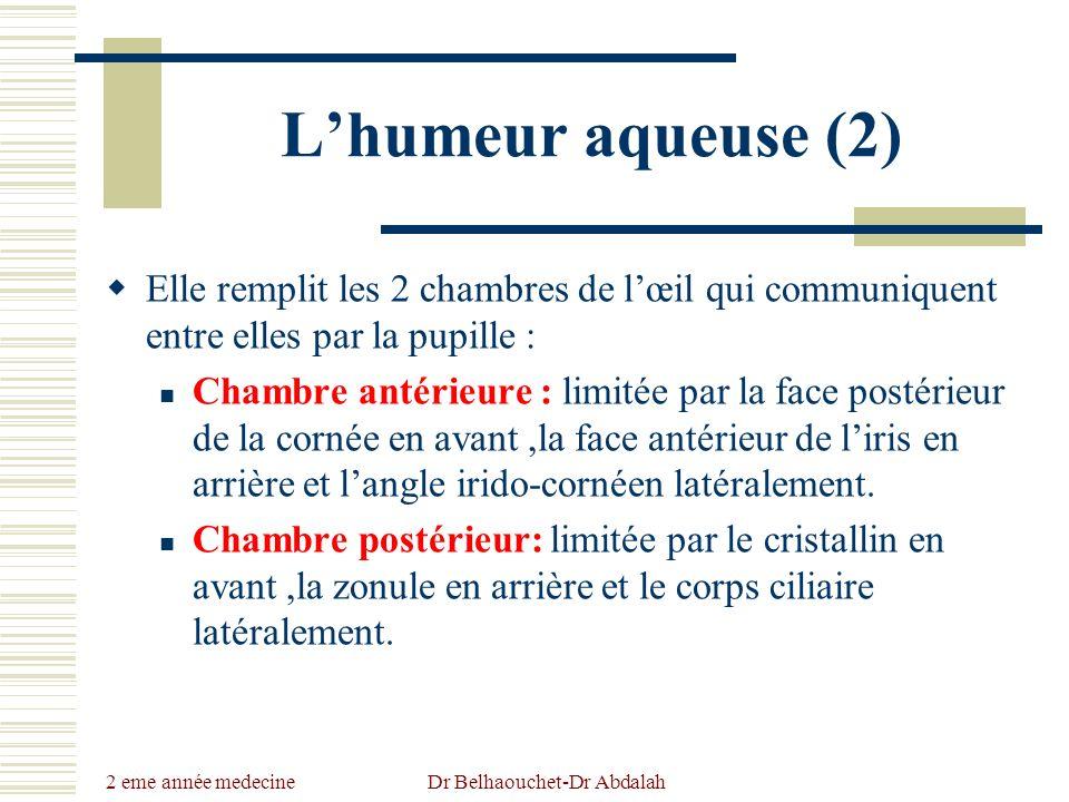 2 eme année medecine Dr Belhaouchet-Dr Abdalah Lhumeur aqueuse (2) Elle remplit les 2 chambres de lœil qui communiquent entre elles par la pupille : C
