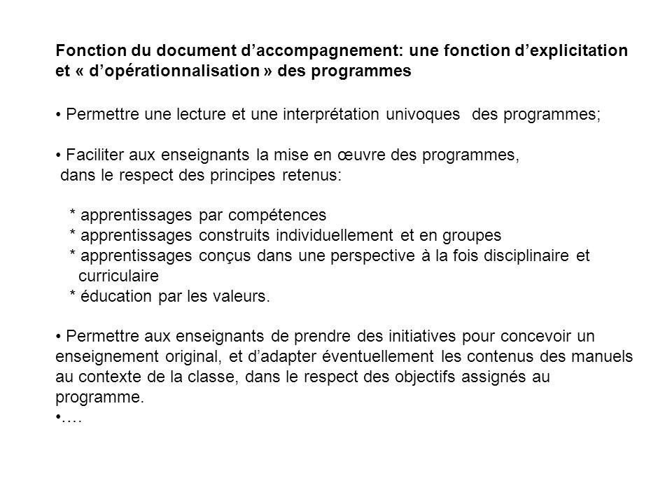 Fonction du document daccompagnement: une fonction dexplicitation et « dopérationnalisation » des programmes Permettre une lecture et une interprétati