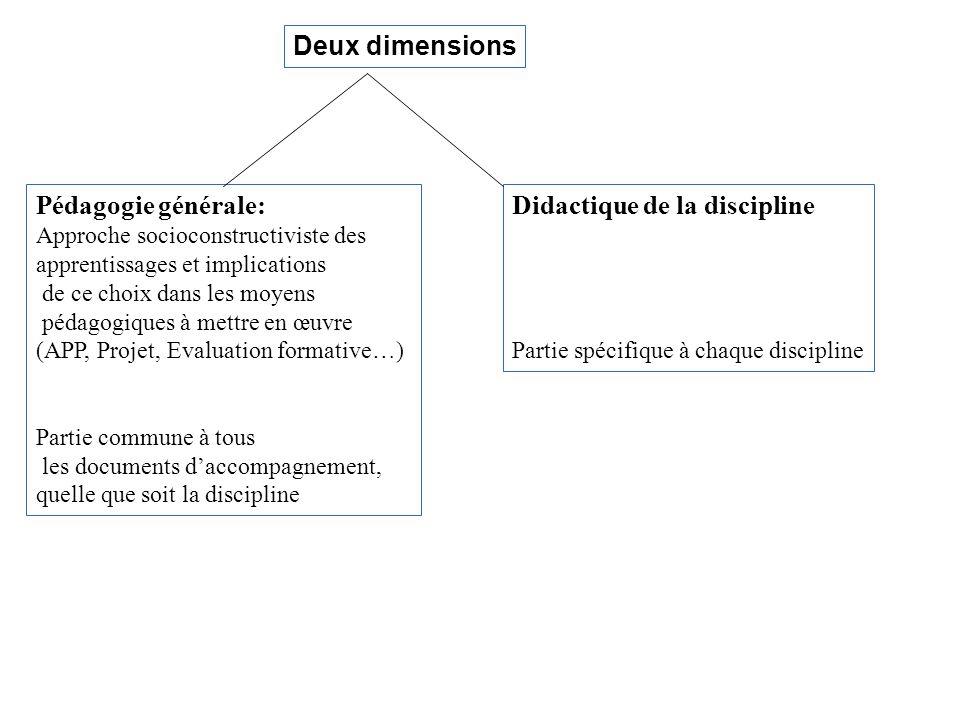 Deux dimensions Pédagogie générale: Approche socioconstructiviste des apprentissages et implications de ce choix dans les moyens pédagogiques à mettre