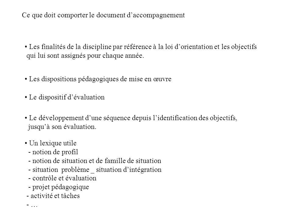 Ce que doit comporter le document daccompagnement Les finalités de la discipline par référence à la loi dorientation et les objectifs qui lui sont ass