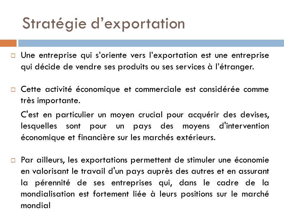 Stratégie dexportation Une entreprise qui soriente vers lexportation est une entreprise qui décide de vendre ses produits ou ses services à létranger.