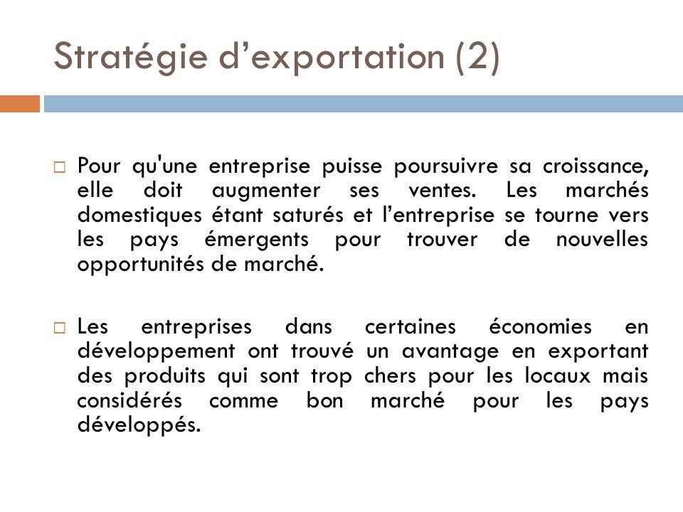 Stratégie dexportation (2) Pour qu une entreprise puisse poursuivre sa croissance, elle doit augmenter ses ventes.