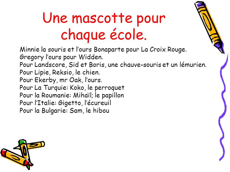 Une mascotte pour chaque école. Minnie la souris et lours Bonaparte pour La Croix Rouge. Gregory lours pour Widden. Pour Landscore, Sid et Boris, une