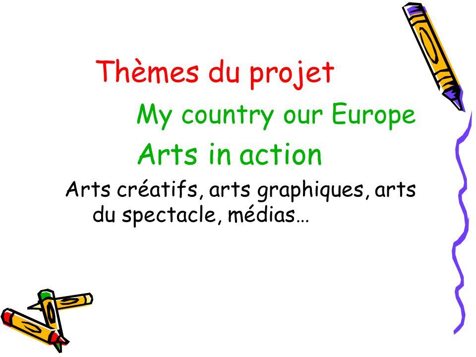Thèmes du projet My country our Europe Arts in action Arts créatifs, arts graphiques, arts du spectacle, médias…
