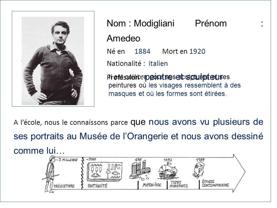 Nom : Modigliani Prénom : Amedeo Né en 1884Mort en 1920 Nationalité : italien Profession : peintre et sculpteur A lécole, nous le connaissons parce qu