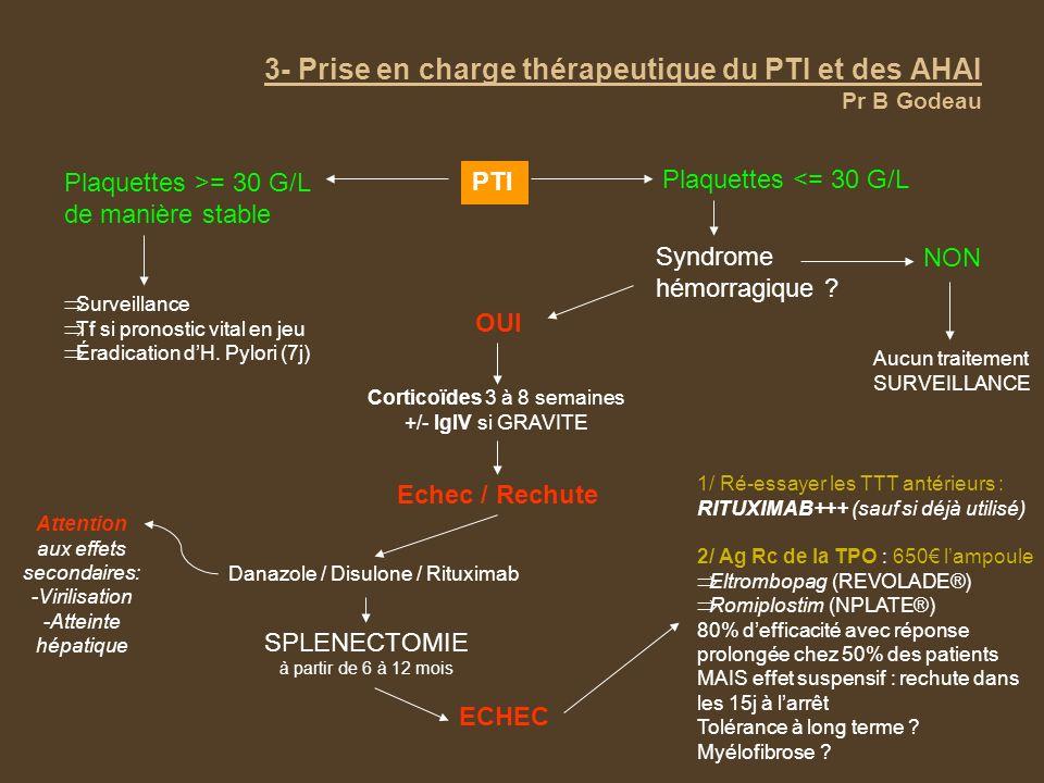 3- Prise en charge thérapeutique du PTI et des AHAI Pr B Godeau PTI Plaquettes >= 30 G/L de manière stable Surveillance Tf si pronostic vital en jeu É