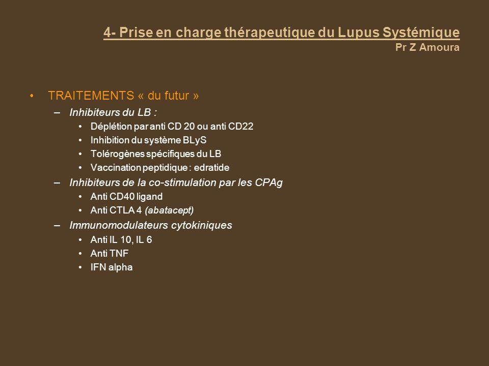 4- Prise en charge thérapeutique du Lupus Systémique Pr Z Amoura TRAITEMENTS « du futur » –Inhibiteurs du LB : Déplétion par anti CD 20 ou anti CD22 I