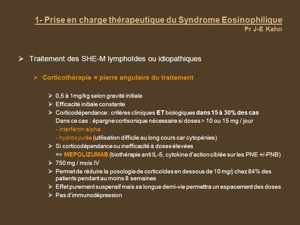 1- Prise en charge thérapeutique du Syndrome Eosinophilique Pr J-E Kahn Traitement de rattrapage et perspectives Envisagées après échec des corticoïdes, de lhydroxyurée et de linterféron-alpha Souvent en association Nouveaux inhibiteurs des TK, 2 e ligne pour les SHE-M après échec de lIM Dasatinib Sorafénib Nilotinib PKC 412 EXEL 0862 Alemtuzumab (anti CD52) ou allogreffe de moelle en dernière ligne Avenir dans les nouvelles thérapeutiques développées dans lallergie