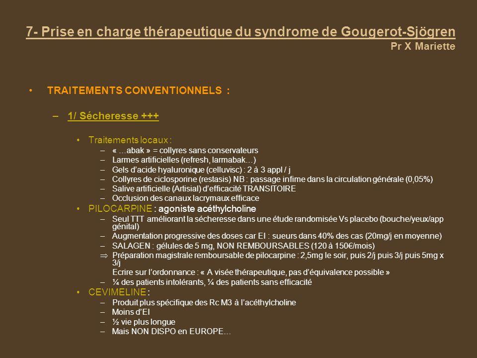 TRAITEMENTS CONVENTIONNELS : –1/ Sécheresse +++ Traitements locaux : –« …abak » = collyres sans conservateurs –Larmes artificielles (refresh, larmabak