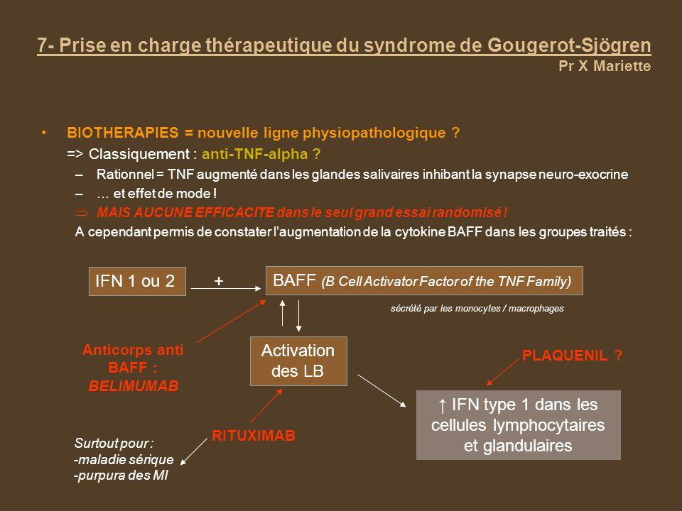 7- Prise en charge thérapeutique du syndrome de Gougerot-Sjögren Pr X Mariette BIOTHERAPIES = nouvelle ligne physiopathologique ? => Classiquement : a