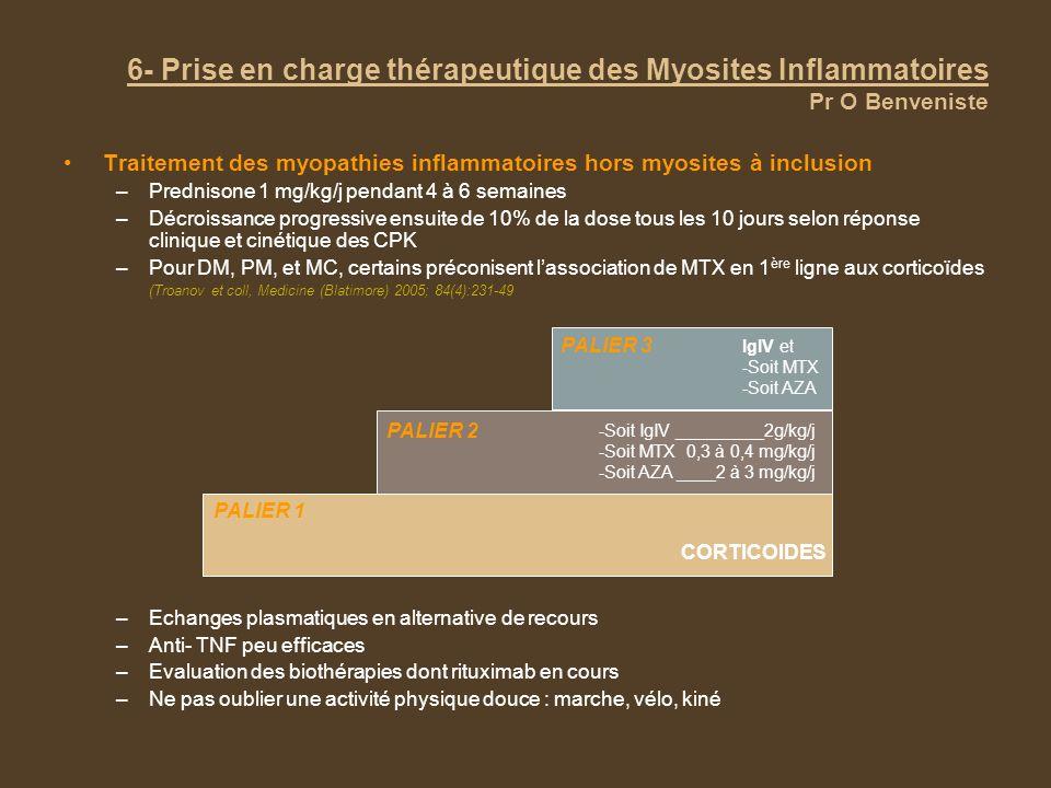 6- Prise en charge thérapeutique des Myosites Inflammatoires Pr O Benveniste Traitement des myopathies inflammatoires hors myosites à inclusion –Prednisone 1 mg/kg/j pendant 4 à 6 semaines –Décroissance progressive ensuite de 10% de la dose tous les 10 jours selon réponse clinique et cinétique des CPK –Pour DM, PM, et MC, certains préconisent lassociation de MTX en 1 ère ligne aux corticoïdes (Troanov et coll, Medicine (Blatimore) 2005; 84(4):231-49 –Echanges plasmatiques en alternative de recours –Anti- TNF peu efficaces –Evaluation des biothérapies dont rituximab en cours –Ne pas oublier une activité physique douce : marche, vélo, kiné CORTICOIDES PALIER 1 PALIER 2 -Soit IgIV _________2g/kg/j -Soit MTX 0,3 à 0,4 mg/kg/j -Soit AZA ____2 à 3 mg/kg/j PALIER 3 IgIV et -Soit MTX -Soit AZA
