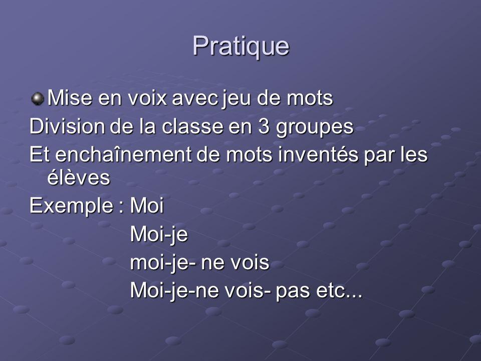 Pratique Mise en voix avec jeu de mots Division de la classe en 3 groupes Et enchaînement de mots inventés par les élèves Exemple : Moi Moi-je Moi-je
