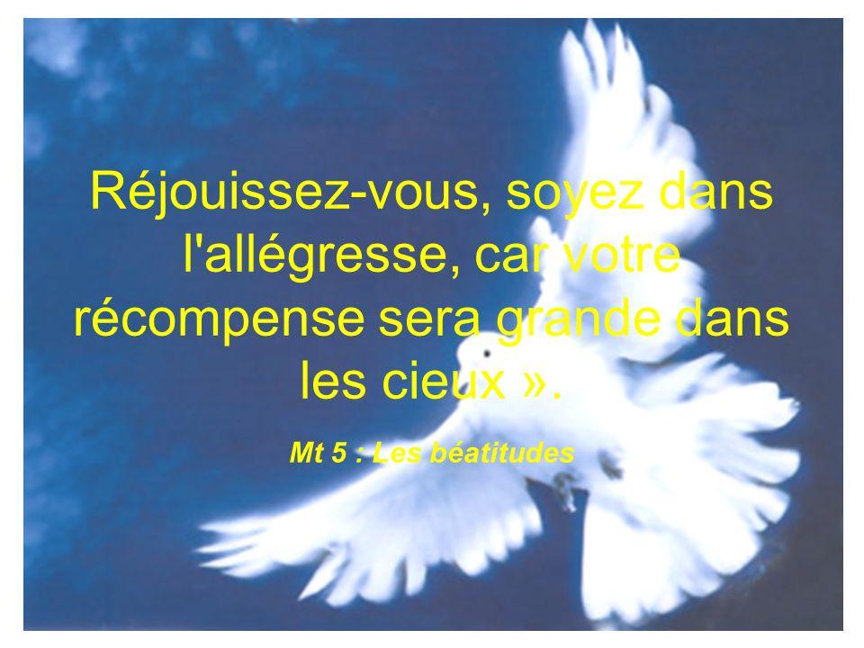 Réjouissez-vous, soyez dans l'allégresse, car votre récompense sera grande dans les cieux ». Mt 5 : Les béatitudes