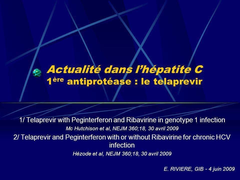 Actualité dans lhépatite C 1 ère antiprotéase : le telaprevir 1/ Telaprevir with Peginterferon and Ribavirine in genotype 1 infection Mc Hutchison et