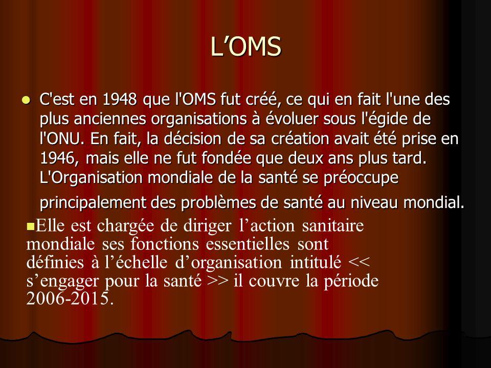 LOMS C'est en 1948 que l'OMS fut créé, ce qui en fait l'une des plus anciennes organisations à évoluer sous l'égide de l'ONU. En fait, la décision de