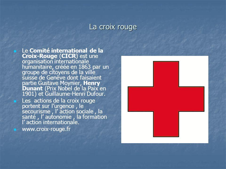 La croix rouge Le Comité international de la Croix-Rouge (CICR) est une organisation internationale humanitaire, créée en 1863 par un groupe de citoye