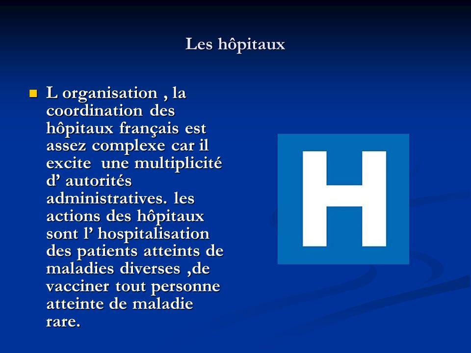 Les hôpitaux L organisation, la coordination des hôpitaux français est assez complexe car il excite une multiplicité d autorités administratives. les