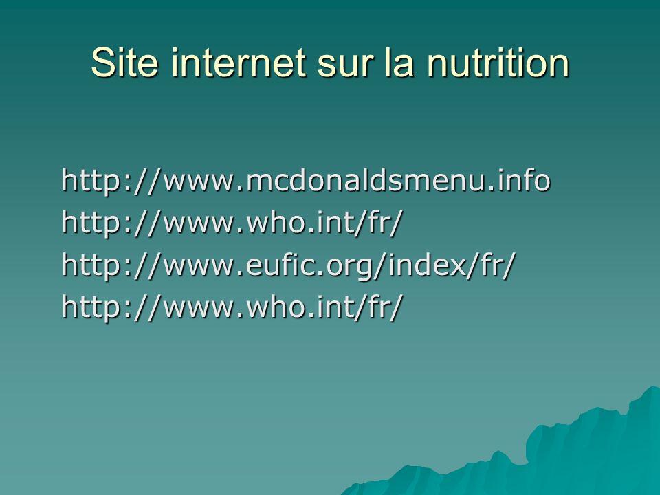 Site internet sur la nutrition http://www.mcdonaldsmenu.info http://www.mcdonaldsmenu.info http://www.who.int/fr/ http://www.who.int/fr/ http://www.eu