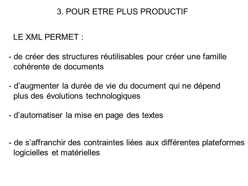 3. POUR ETRE PLUS PRODUCTIF LE XML PERMET : - de créer des structures réutilisables pour créer une famille cohérente de documents - daugmenter la duré