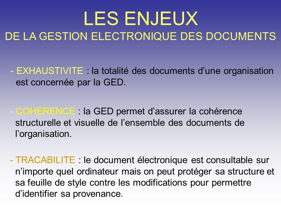 LES ENJEUX DE LA GESTION ELECTRONIQUE DES DOCUMENTS - EXHAUSTIVITE : la totalité des documents dune organisation est concernée par la GED. - COHERENCE