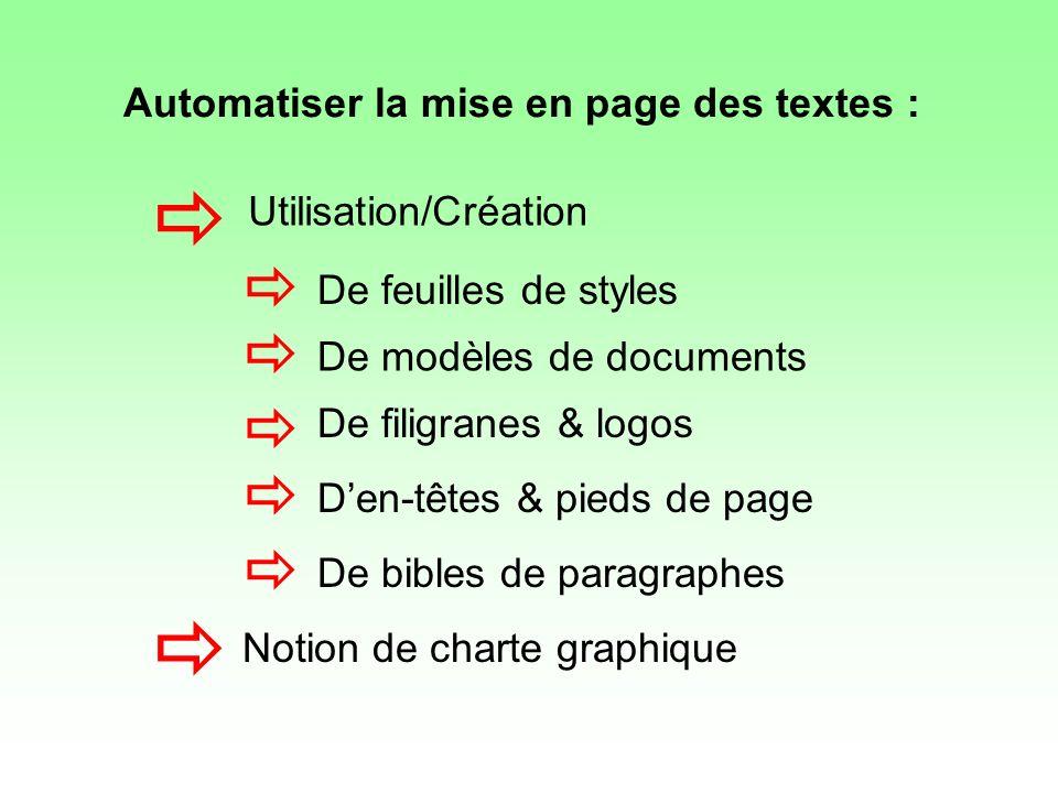 De feuilles de styles De modèles de documents De filigranes & logos Den-têtes & pieds de page De bibles de paragraphes Notion de charte graphique Util