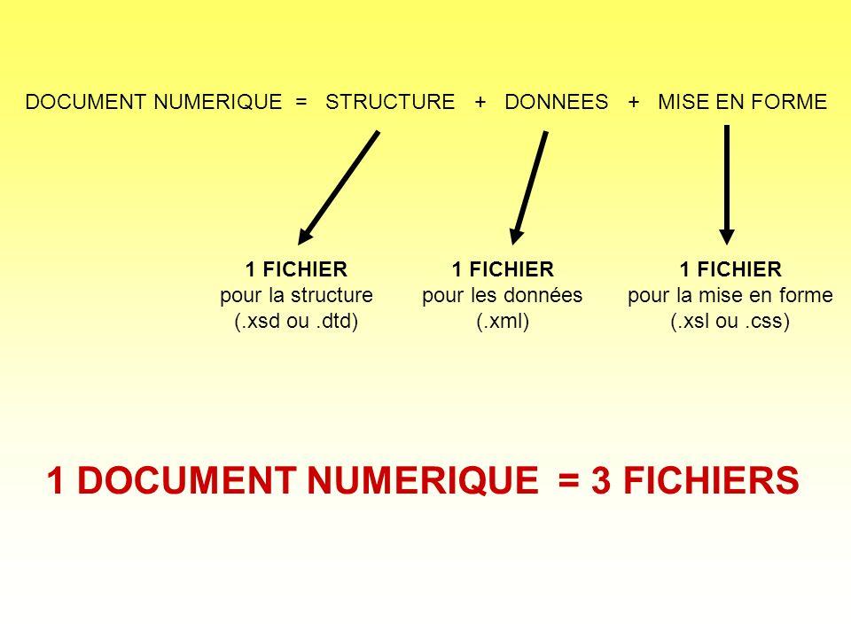 DOCUMENT NUMERIQUE = STRUCTURE + DONNEES + MISE EN FORME 1 FICHIER pour la structure (.xsd ou.dtd) 1 FICHIER pour les données (.xml) 1 FICHIER pour la