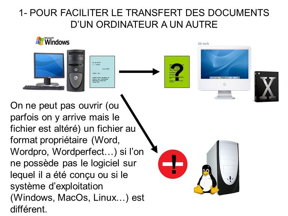 LE DOCUMENT XML EST LISIBLE (EN RESPECTANT LA MISE EN FORME) ET MODIFIABLE PAR NIMPORTE QUEL ORDINATEUR.