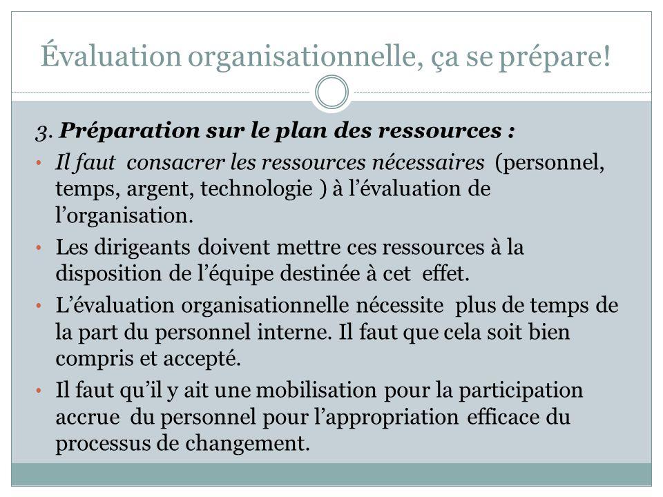 Évaluation organisationnelle, ça se prépare! Il faut se préparer sur tous les plans avant de commencer ce processus. 1. Préparation sur le plan cultur