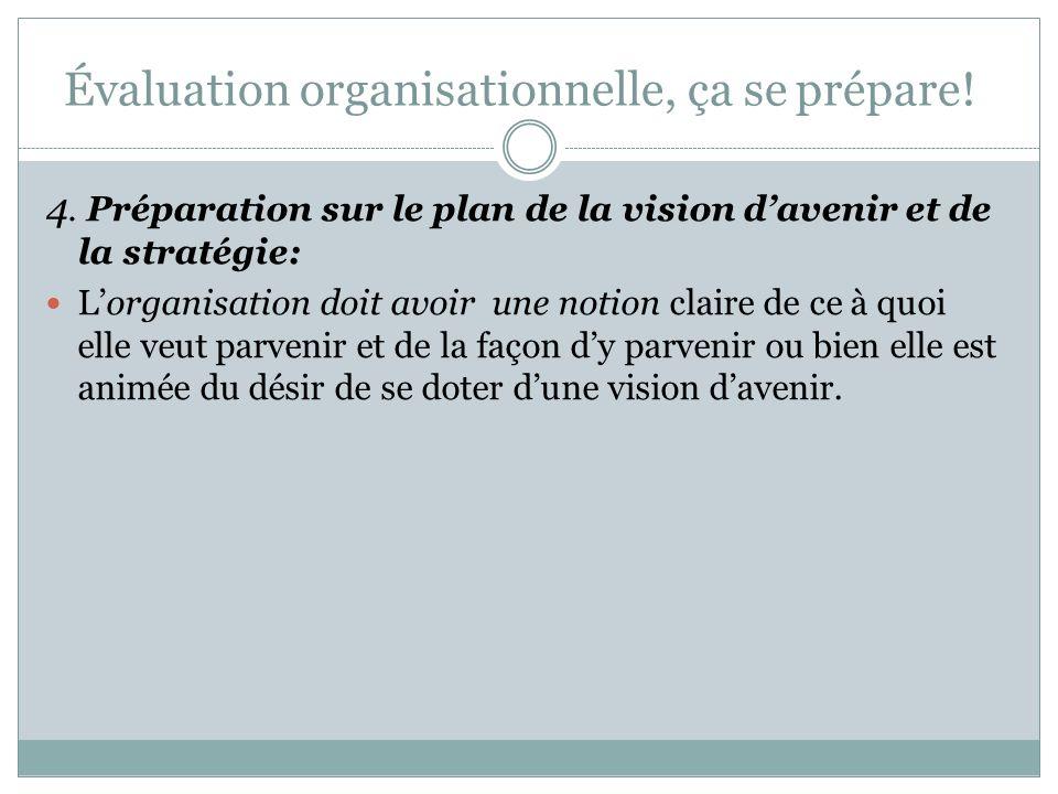 Évaluation organisationnelle, ça se prépare! 3. Préparation sur le plan des ressources : Il faut consacrer les ressources nécessaires (personnel, temp