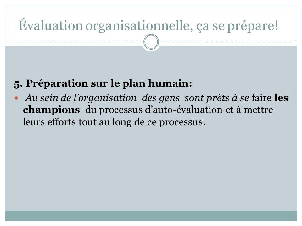 Évaluation organisationnelle, ça se prépare! 4. Préparation sur le plan de la vision davenir et de la stratégie: Lorganisation doit avoir une notion c