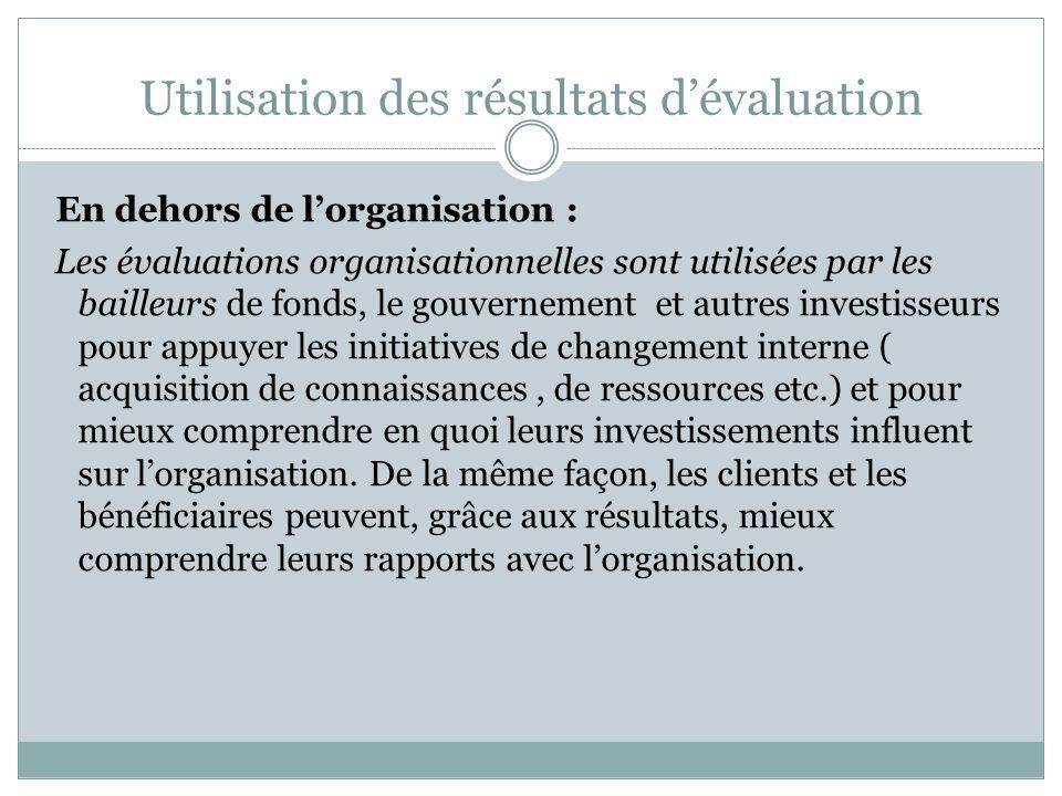 Utilisation des résultats dévaluation Au sein de lorganisation : Les membres du conseil dadministration et les cadres supérieurs se servent des résult