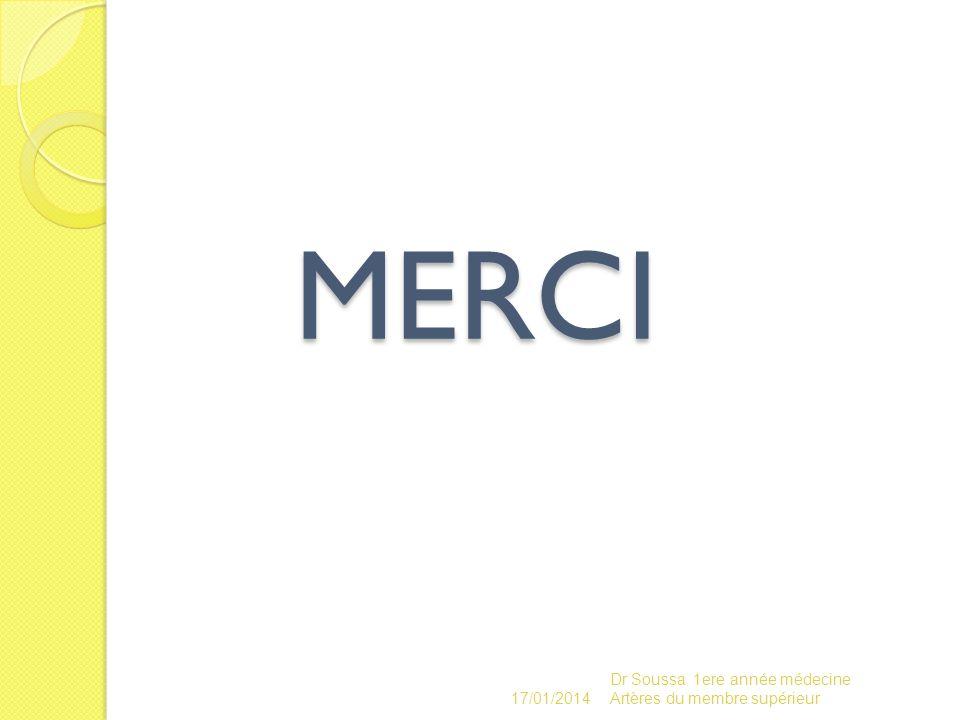 MERCI 17/01/2014 Dr Soussa 1ere année médecine Artères du membre supérieur