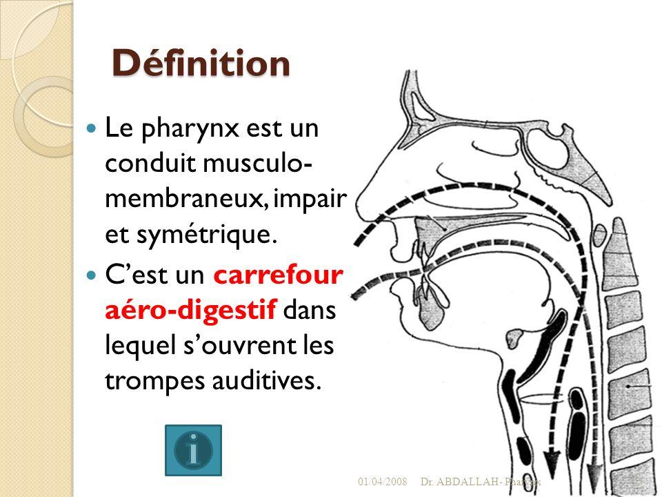 Définition Le pharynx est un conduit musculo- membraneux, impair et symétrique. Cest un carrefour aéro-digestif dans lequel souvrent les trompes audit