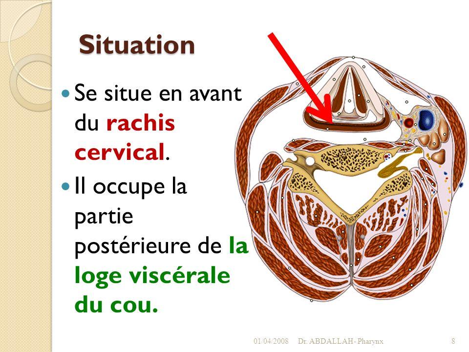 Situation Se situe en avant du rachis cervical. Il occupe la partie postérieure de la loge viscérale du cou. 01/04/2008Dr. ABDALLAH- Pharynx8
