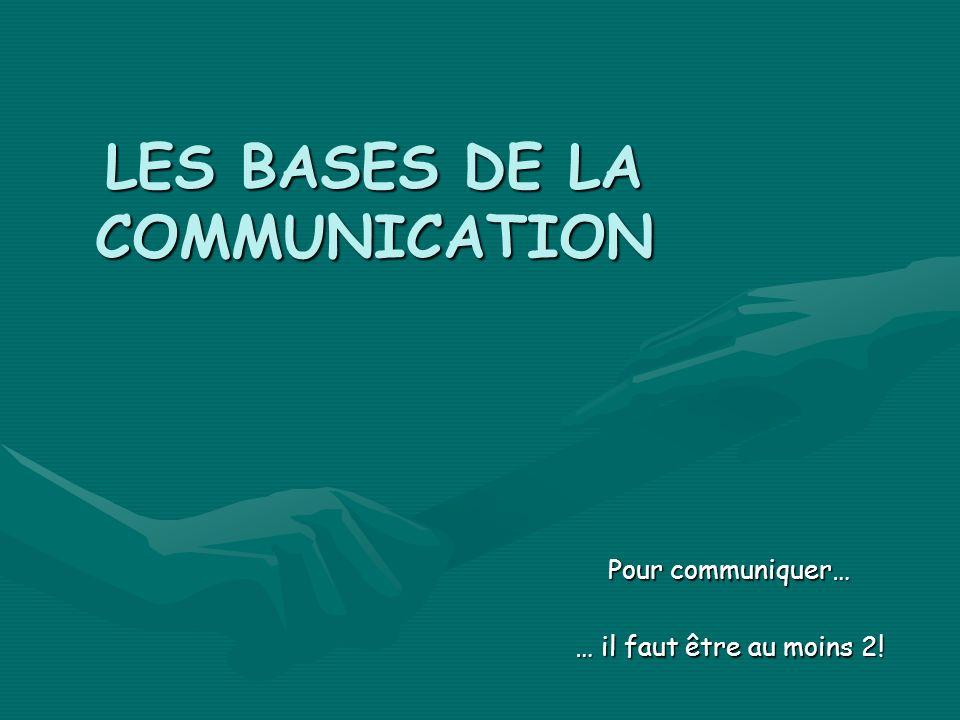 LES BASES DE LA COMMUNICATION Pour communiquer… … il faut être au moins 2!