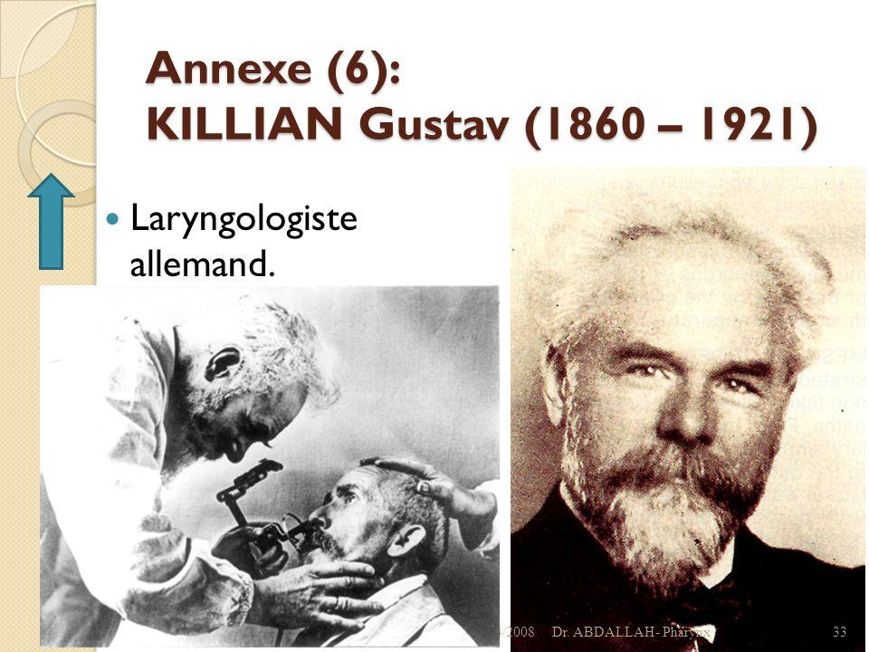 Annexe (6): KILLIAN Gustav (1860 – 1921) Laryngologiste allemand. 01/04/2008Dr. ABDALLAH- Pharynx33